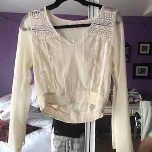 Small Longsleeve Off-White Sheer Top Blouse